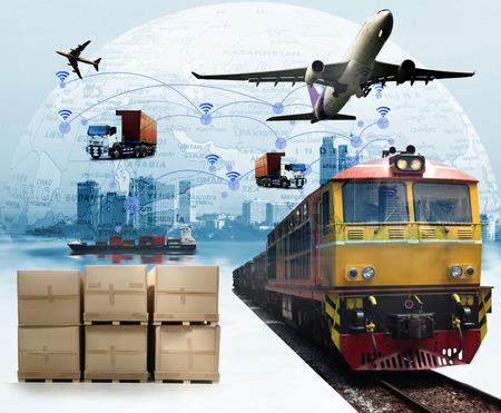 물류 수입 수출을위한 컨테이너화물화물 열차의 글로벌 비즈니스, 비즈니스 물류 개념, 항공화물 운송, 철도 운송, 해상 운송, 정시 납품