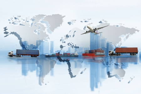 Shipping, delivery car, ship, plane transport on a background map of the world Standard-Bild