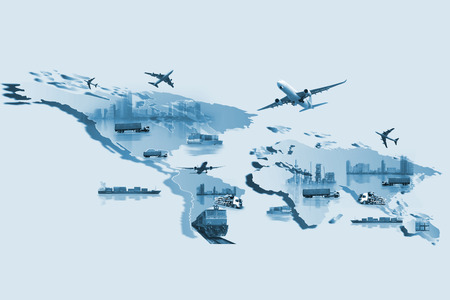 Shipping, delivery car, ship, plane transport on a background map of the world Stockfoto