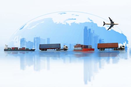 Shipping, delivery car, ship, plane transport on a background map of the world Stock Photo