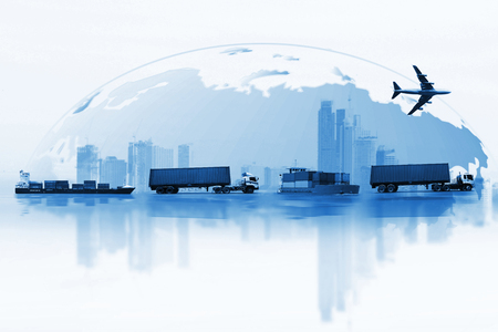 Shipping, delivery car, ship, plane transport on a background map of the world 版權商用圖片