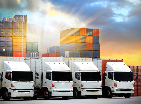 Trucks lorries loading unloading depot warehouse,Truck  transportation  Freight cargo transport  Shipping
