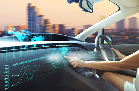 self-driving autopilot mode , autonomous car, vehicle running self driving mode and a woman driver