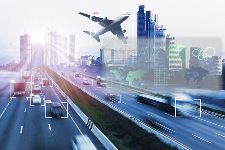 technology of machine or robot  Learning analytics identify vehicles technology , Software  analytics and recognition for transport  logistic ,Artificial intelligence concept.
