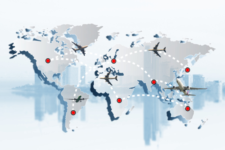 global transportation logistics or import export business concept or travel concept. Airplane flying and leave a white dashed trace line on world map