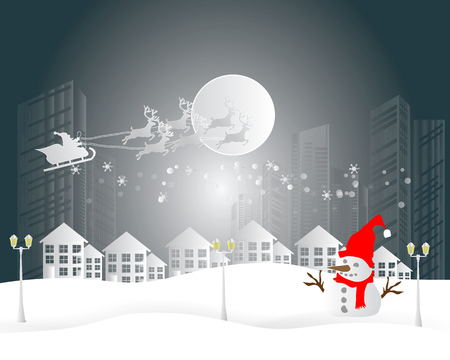 Merry Christmas and Happy New Year. Illustration of Santa Claus on the sky and country village with snowman and winter season landscape
