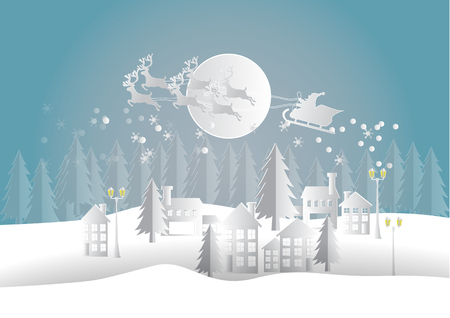 Merry Christmas and Happy New Year. Illustration of Santa Claus on the sky and country village winter season landscape