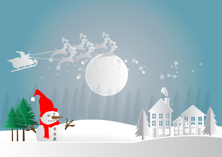 chrismas card: Merry Christmas and Happy New Year. Illustration of Santa Claus on the sky and country village with snowman and winter season landscape