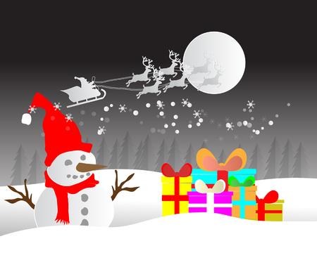 空と冬シーズンの風景と雪だるまのサンタ クロースのイラスト 写真素材 - 88045099