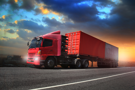 Transportation, import-export and logistics concept, container truck, transport and import-export commercial logistic, shipping business industry Banco de Imagens