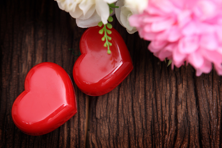 two hearts , valentines day background  Stock Photo