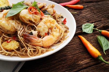 spaghetti seafood on wood table  Stock Photo