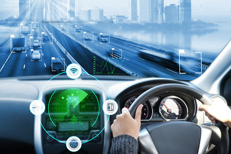 electric car or intelligent car.Heads up display(HUD). Stock Photo