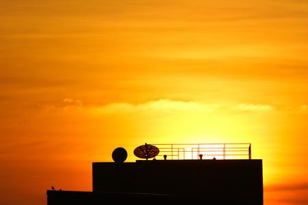 dish satellite or The radio-aerials on sky background