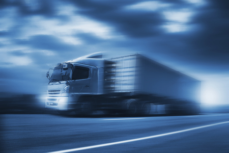 Truck run on road, transportation logistic concept