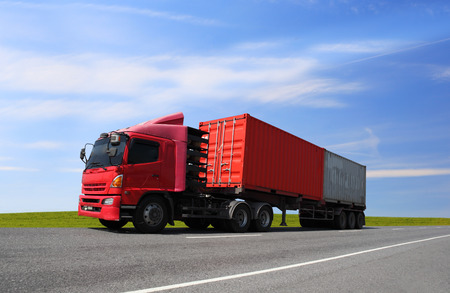 Transportation, import-export and logistics concept, container truck, transport and import-export commercial logistic, shipping business industry Banque d'images