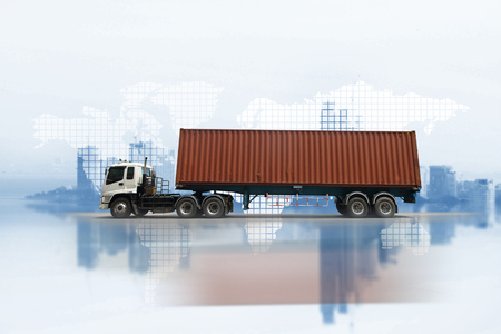 Transportation, import-export and logistics concept, container truck, transport and import-export commercial logistic, shipping business industry Stock Photo
