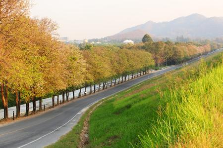 country road at good view point of Bang Phra Reservoir Sriracha Chonburi, Thailand.