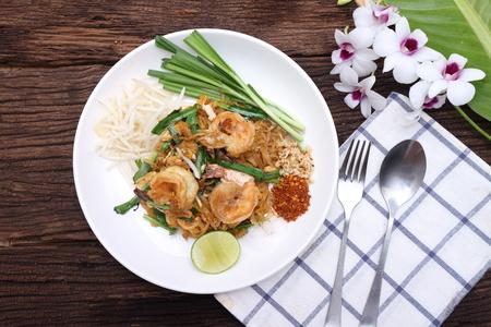 Pad Thai stir-fried noodles with eggs, sea food , Thai food.