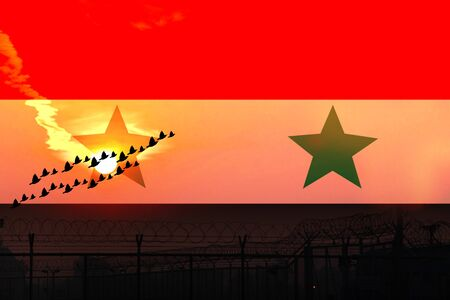 National Syria flag, Arab Republic of Syria flag stop the war concept