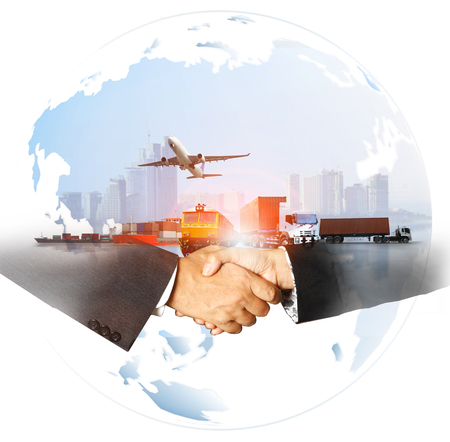 success business of Global logistics , Air cargo trucking rail transportation maritime shipping On-time delivery,Supply Chain concept Archivio Fotografico