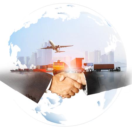 succesbedrijf van wereldwijde logistiek, luchtvrachtvervoer per spoor, zeevervoer, tijdige levering, supply chain-concept Stockfoto