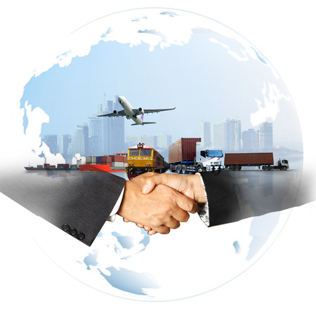 success business of Global logistics , Air cargo trucking rail transportation maritime shipping On-time delivery,Supply Chain concept Foto de archivo
