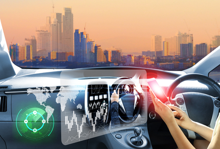 vehicle running self driving mode electric car or intelligent car.Heads up display(HUD).futuristic vehicle and graphical user interface(GUI).self-driving mode