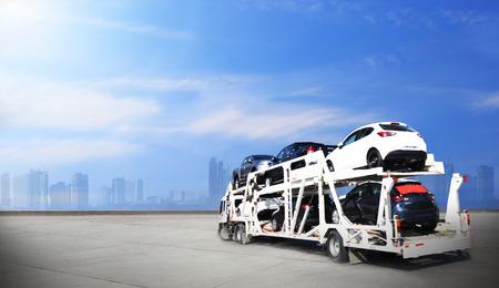 Camion sur route, conduite sur route, concept logistique de transport