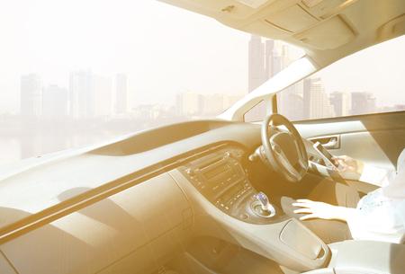 car interior with sunlight