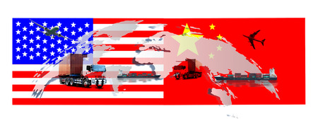 US and China as two opposing economic dispute over import and exports or economic World trade war