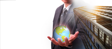 International financial consulting and Office buildings concept of business background.