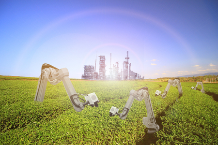 Green vegetables. robots are checking spray chemical, Agriculture farming technology concept. Standard-Bild