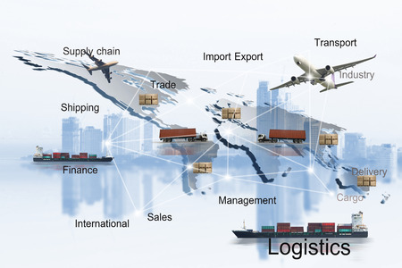 Transportation, import-export and logistics concept, container truck, ship in port and freight cargo plane in commercial logistic, shipping business industry
