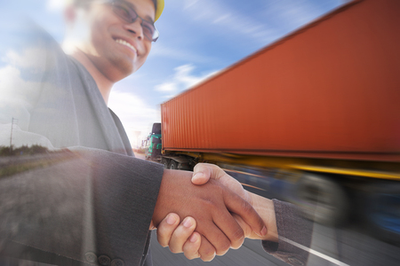 Generic big trucks speeding on the highway with businessman working transportation logistics industry