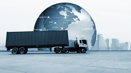 Truck run on road, Drive on road, transportation logistic concept