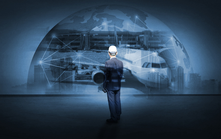 Double exposure of man with Transportation, import-export and logistics concept Stok Fotoğraf