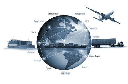 Abstract image of the world logistics, there are world map background and container truck, ship in port and airplane Banco de Imagens