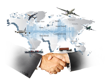 Abstract image of the world logistics, there are world map background and container truck, ship in port , airplane and hand shake for business success