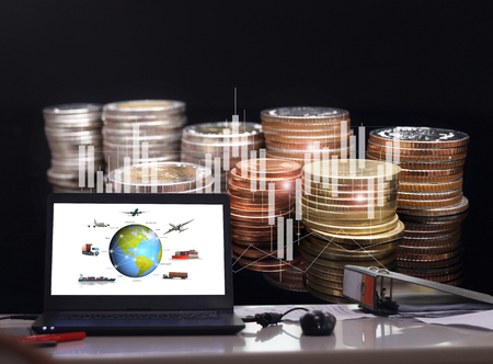 International financial consulting and rows of coins for finance and banking concept with business background.