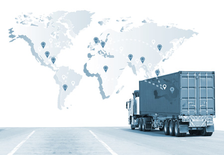 Truck run on road, Drive on road, transportation logistics concept Stockfoto