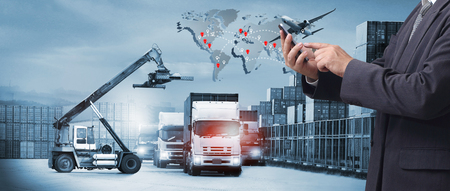 Double exposure of man with Transportation, import-export and logistics concept, there are container truck,  airplane for delivery supply industry