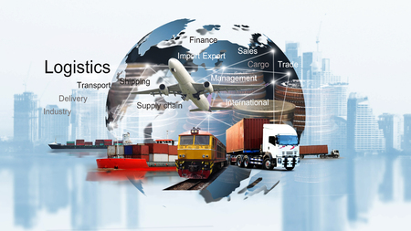 Abstract image of the world logistics, there are world map background and container truck, ship in port and airplane Imagens