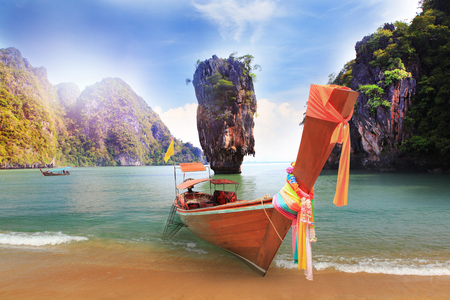 Khao Phing Kan island near Phuket in Thailand. Famous landmark and famous travel destination Scenery Thailand sea and island. Adventures and travel concept