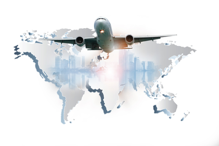 Airplane is flying over the sky for Business trip, Transportation, import-export, logistics management