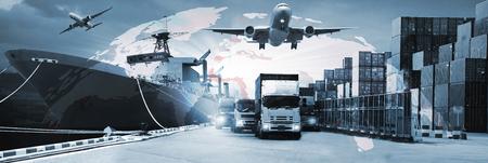 Podwójna ekspozycja dystrybucji sieci logistycznej w tle i logistyczny kontenerowy statek towarowy dla koncepcji szybkiej lub natychmiastowej wysyłki Zdjęcie Seryjne