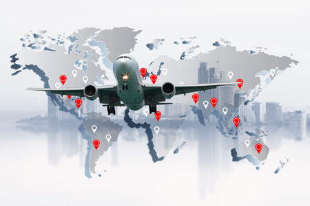 airplane flying around the world , transportation concept , travel concept
