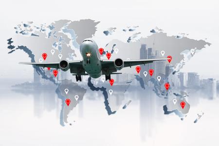 avion volant dans le monde entier, concept de transport, concept de voyage