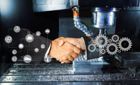 hand shaking and engine gear drilling machine , industrial blue tone  background