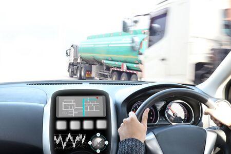 Truck run on road, Drive on road, transportation logistics concept Imagens